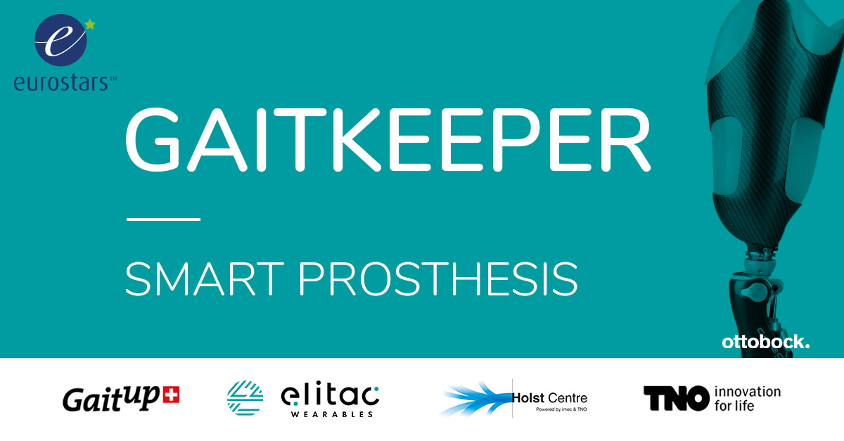 Project visual with the text 'Gaitkeeper: Smart prosthesis', the consortium partners' logos and a depiction of a prosthesis.