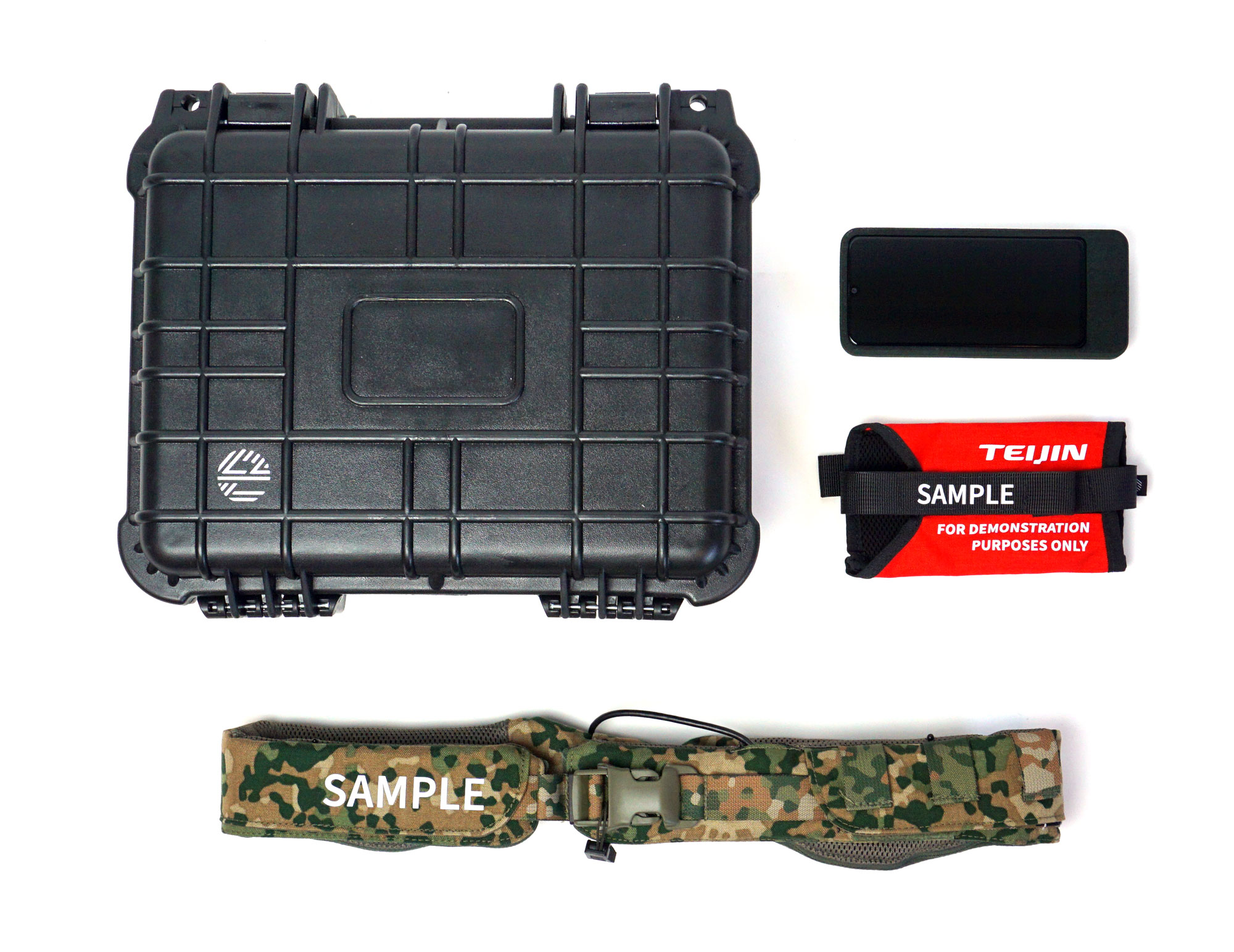 Mission Navigation Belt demo kit: A sturdy box with haptic feedback belt, phone and pouch.